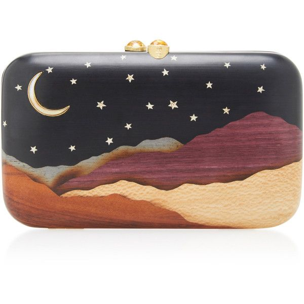 Silvia Furmanovich Desert Moon and Stars Embellished Wood Clutch ($7,110) ❤ liked on Polyvore featuring bags, handbags, clutches, navy, holiday purse, navy blue purse, wooden purse, navy blue handbags and navy handbags