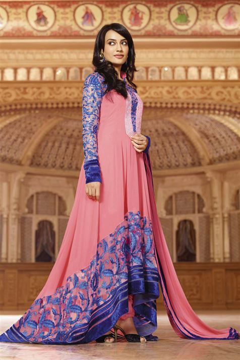 Get dress just like Zoya in this Pink, Blue Georgette Pakistani Style Suit