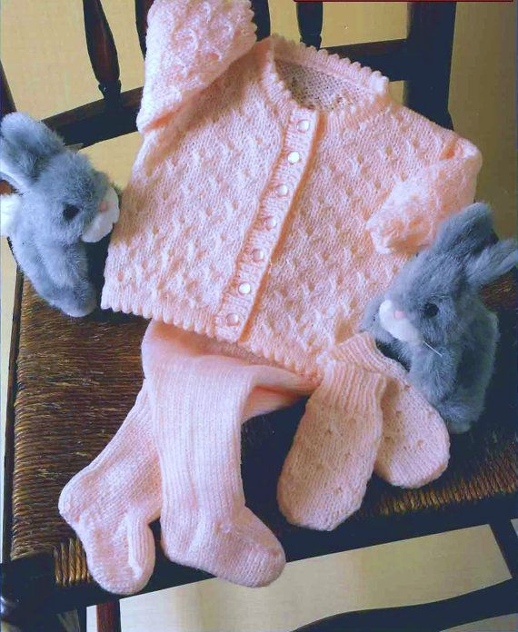 Baby Knitting PATTERN - Jacket, Leggings/Longies, Mitts DK 4 sizes 16 to 22 inch chest