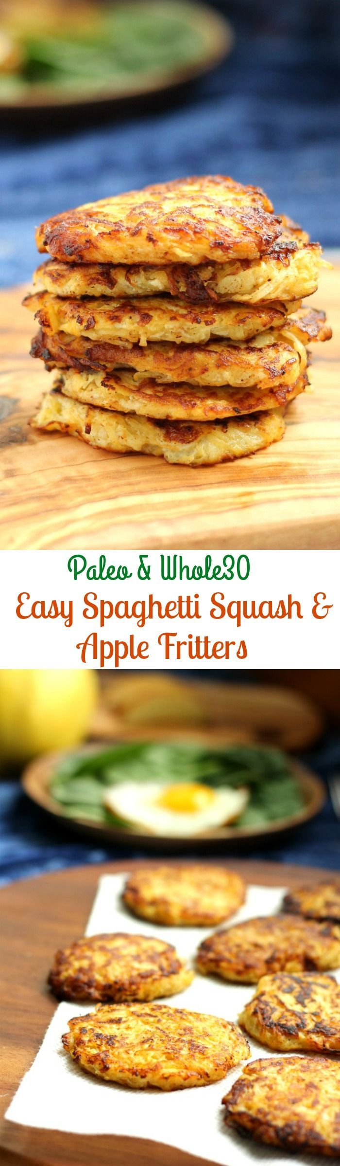 Spaghetti squash and apple fritters that are Paleo and Whole30 friendly, grain free and couldn't be easier!