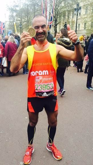 Hairdresser to the stars, Andrew Barton, runs the London Marathon 2016 to raise money for Coram. Find out how you can take part next year. #Londonmarathon #fundraising #charity #run