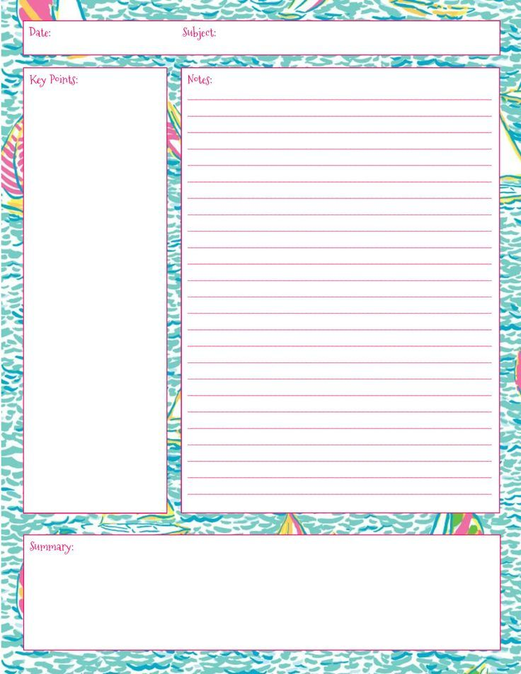 Lilly Note Taking Printables! Also in First Impression, Get Nauti - cornell note taking template