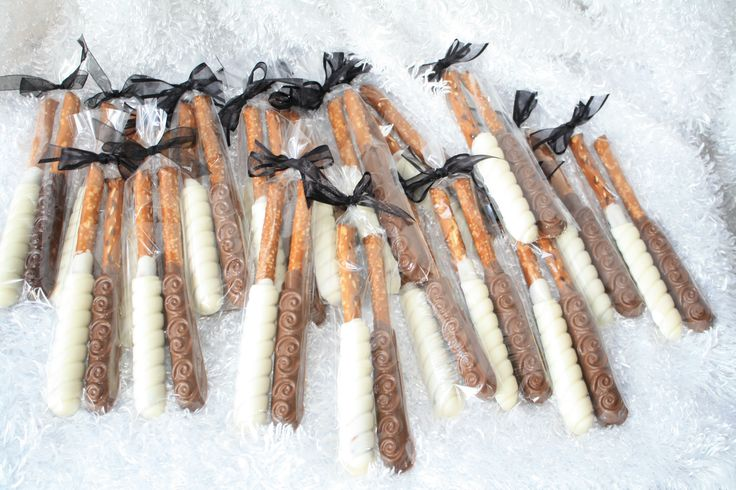 created black/white chocolate covered pretzels (these are going in ...