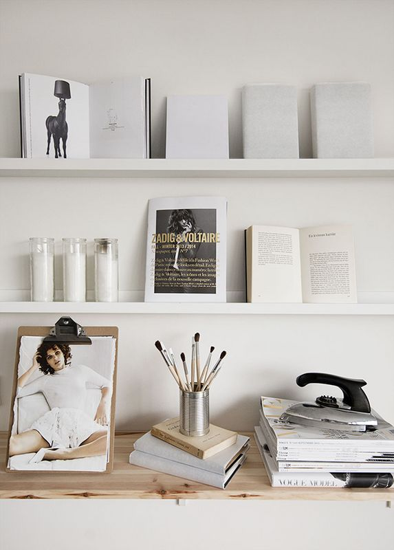 IKEA Lack shelves above desk