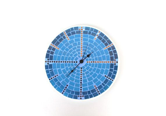 Blue Wall Clock Large Mosaic Mosaic home decor by SirliMosaic