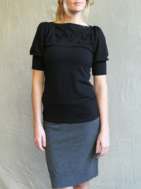 Folded Top Black Top with folded detail cotton jersey by outofline