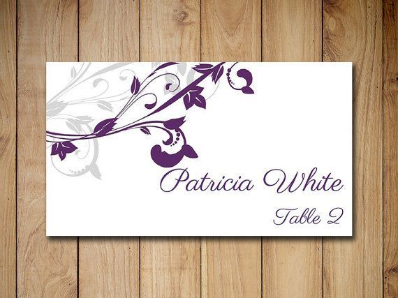 """Wedding Place Card Template Download Escort Card """"Whimsical Vines"""" Eggplant Purple Silver Gray Name Card - DIY Wedding Escort Card Template by PaintTheDayDesigns"""