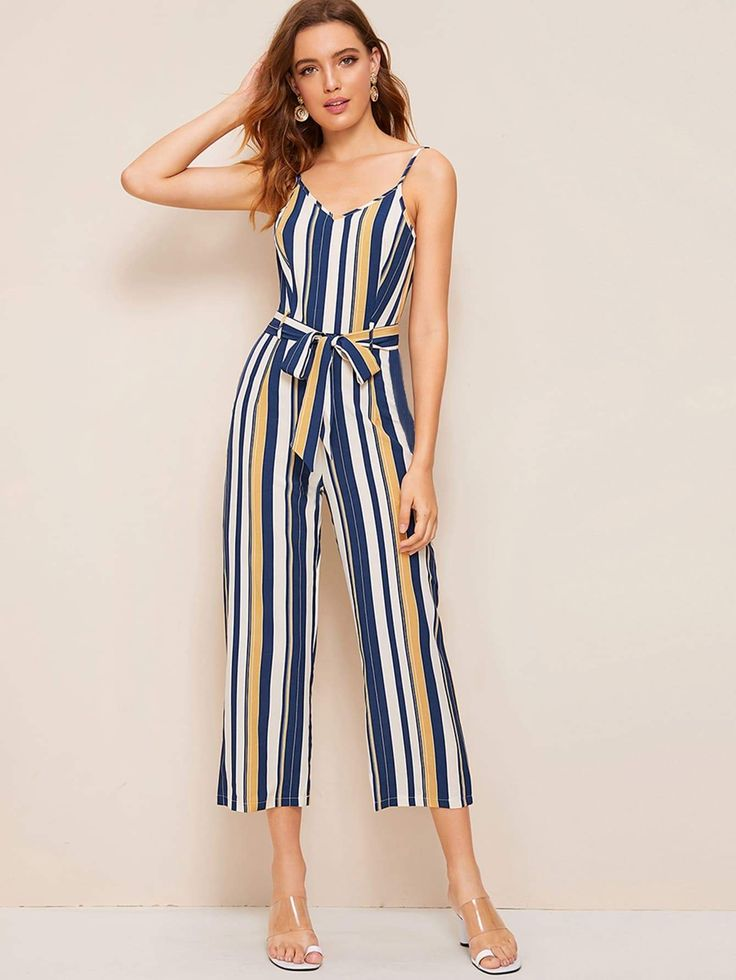 Striped Belted Cami Jumpsuit 1