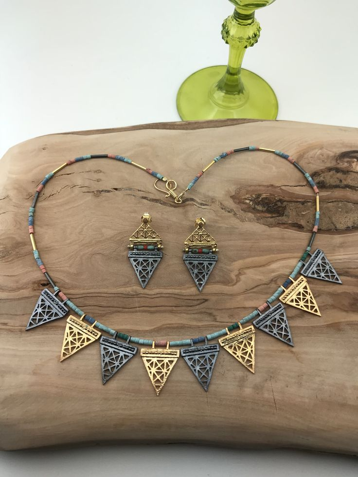 Hittite style Necklace and Earrings  silver&goldplated with multicolored stones