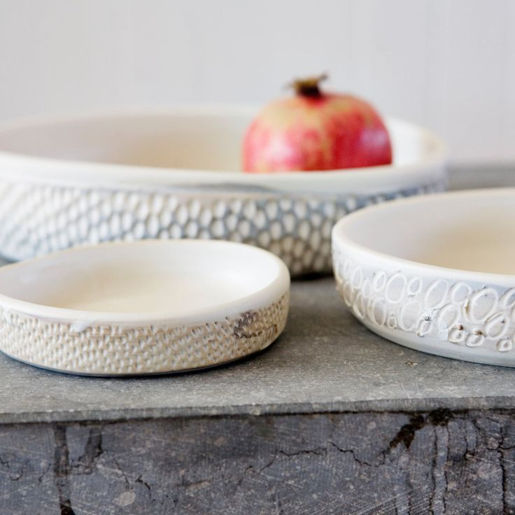 Sgraffito Flat Bowl / Large / White or Sand by GlobalEyeCollective