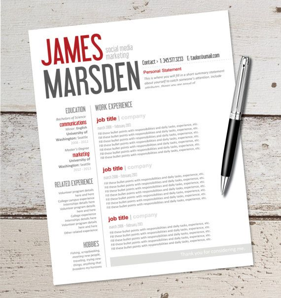 INSTANT DOWNLOAD - Resume Design Template - Microsoft Word, Editable, Red, Black, Gray