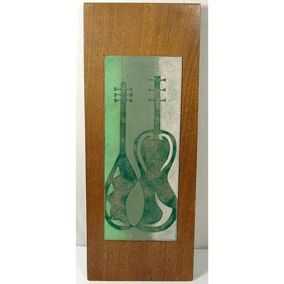 Mid-Century Modern Enamel on Copper Wall Art // Guitar and Mandolin. $85.00, via Etsy.