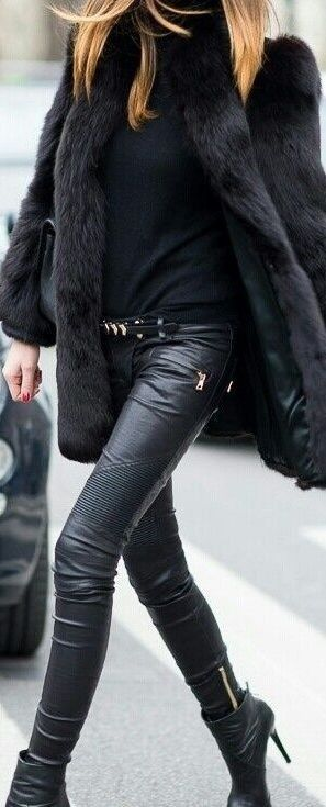 leather pants in all black outfit