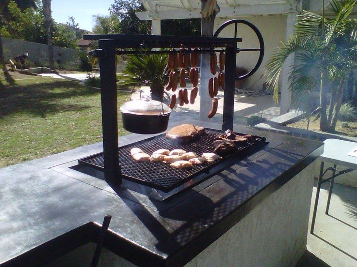 Argentine Grill Kit With Rear Brasero Drip Pan Cables