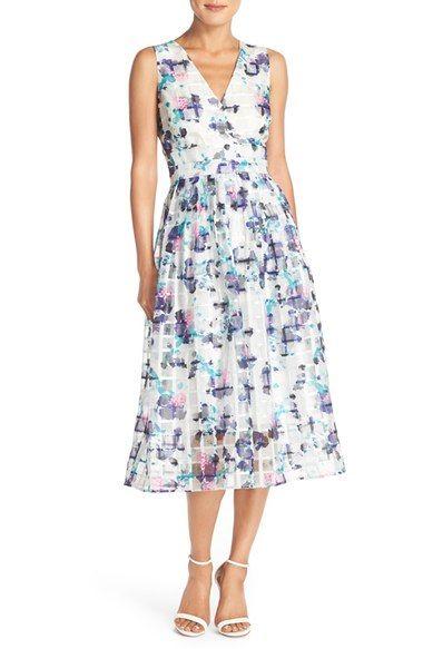 Ivanka Trump Floral Print Organza Midi Dress available at #Nordstrom