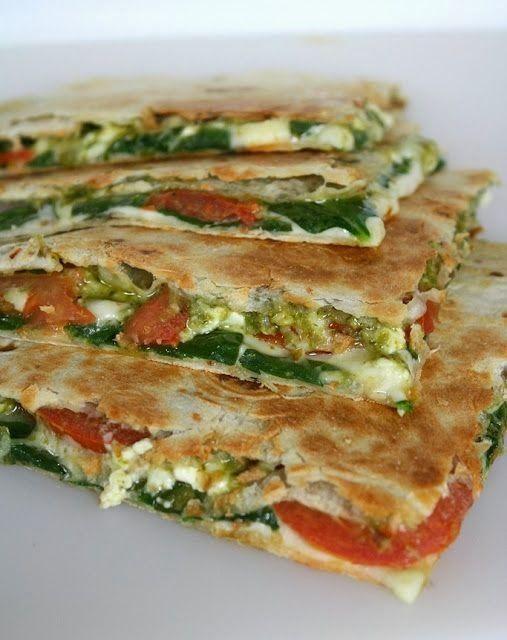 Spinach + Tomato Quesadilla with Pesto | Vegetarian Gluten Free Easy Recipe