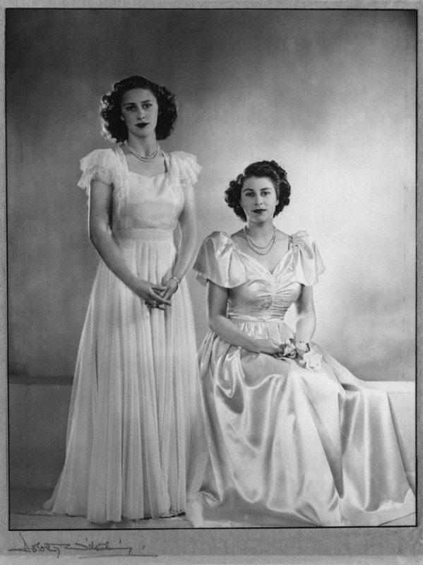 The Princesses pose for a portrait- left, Princess Margaret; right, the future Queen Elizabeth II. Circa 1946