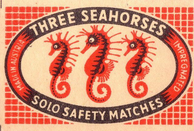 three seahorses solo safety matches [via pilllpat (agence eureka) on flickr]