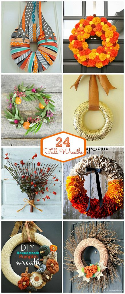 24 Fall Wreath Ideas at Tatertots and Jello #DIY #Fall