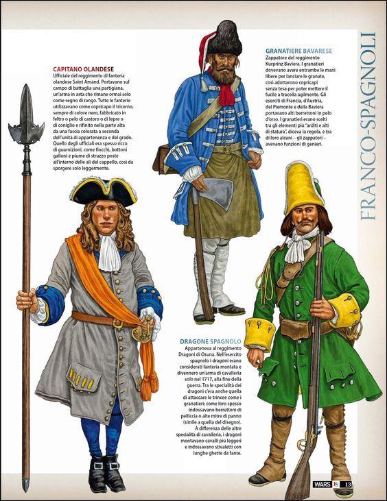 War of the Spanish Succession, c.1710 Dutch Infantry Officer, Bavarian Infantry, Grenadier & Spanish Dragoon