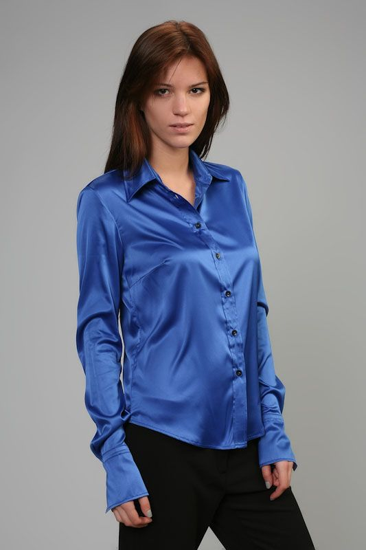 Satin Blouse Top Silk Blue Y