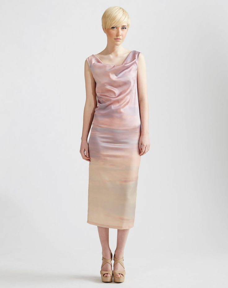 Digitally printed Cowl Neck Maxi Dress with single side split www.jenkinsandjane.com.au
