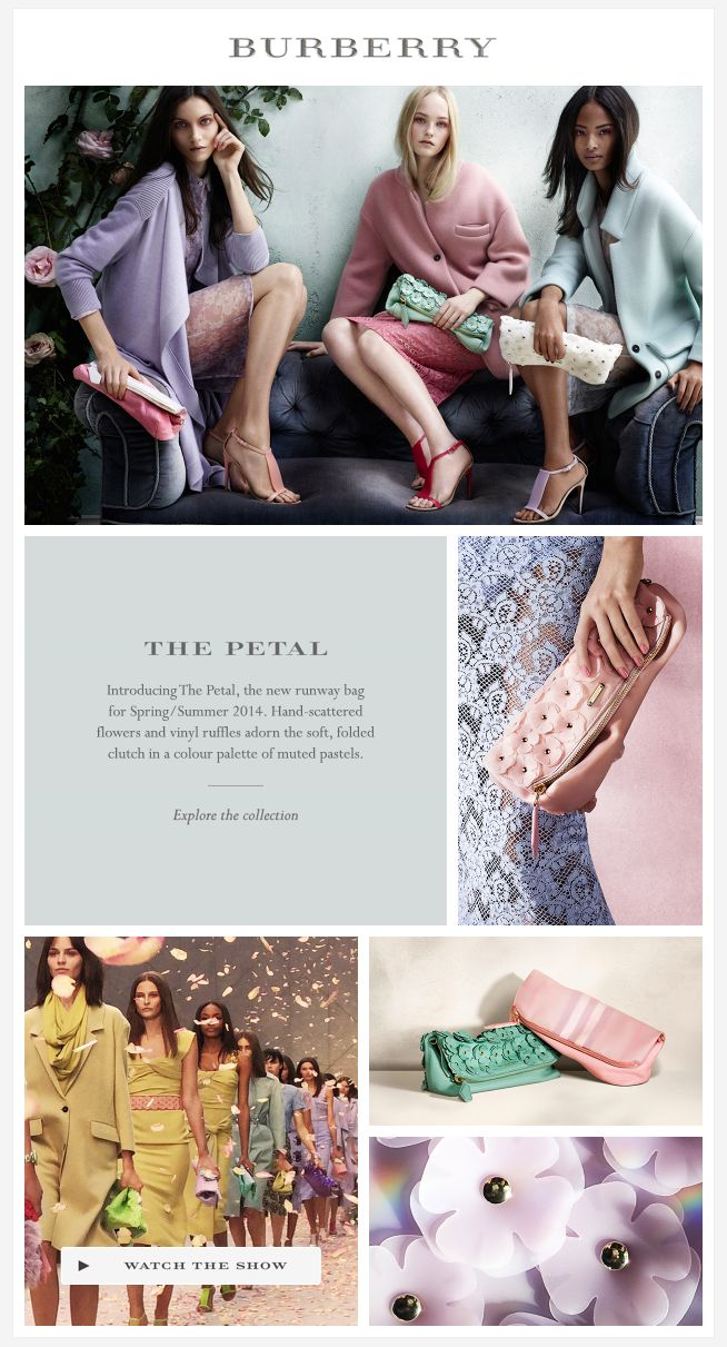 PASTELS - love the layout and placement of text with close up details as you make your way down the email