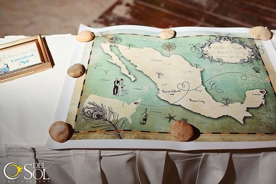 US & Mexico Guestbook Map / 8x10 Digital Print / Personalized Mexico Map / Wedding Guest Signage Poster