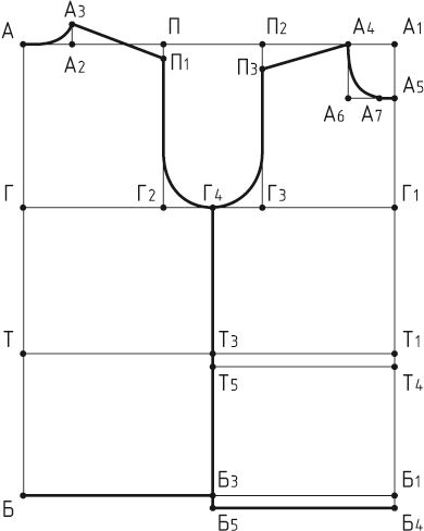 Выкройка основы трикотажного жилета