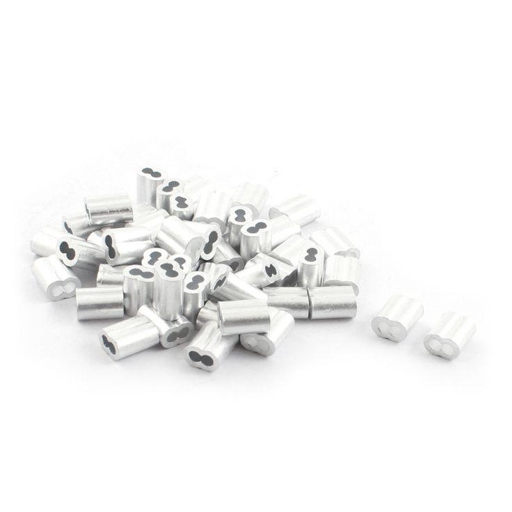 """UXCELL 50 Stks 1/8 """"X 3/8"""" Aluminium Zandloper Adereindhulzen Mouw Krimp Voor 2 Mm Draad Touw"""