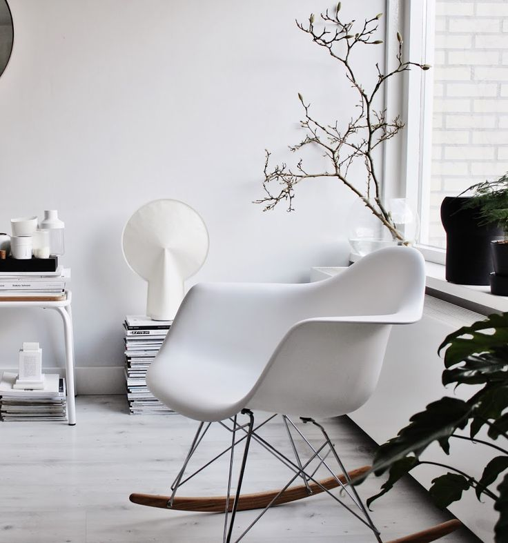 black and white interior style / Eames rocking chair