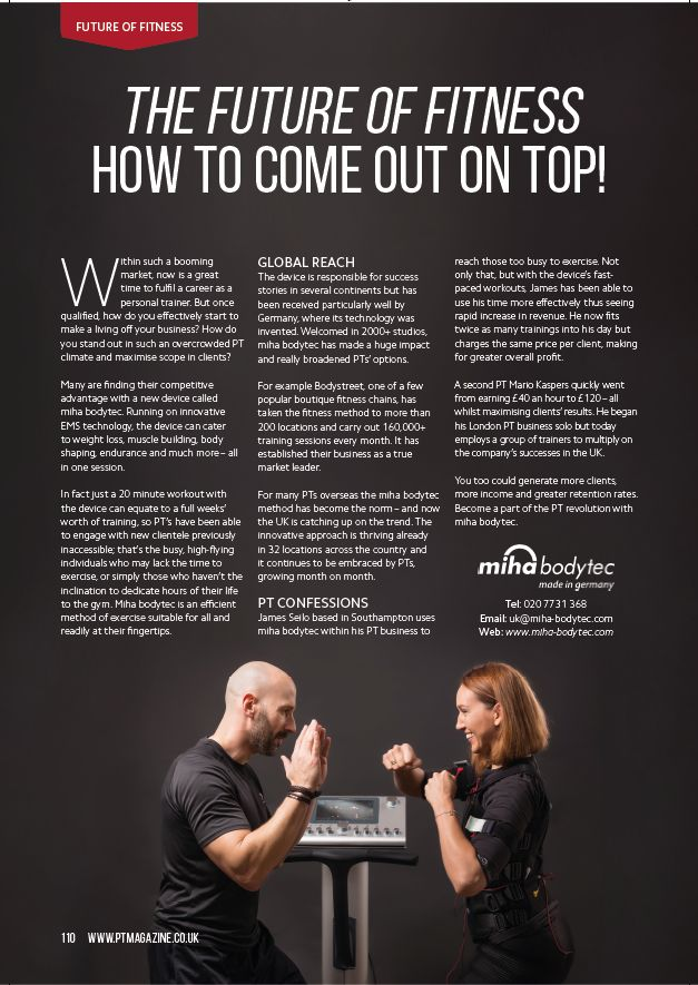 PT Magazine with an article about miha bodytec  #mihabodytec #mbtII #press