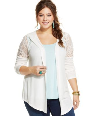 American Rag Plus Size Crochet-Detail Hooded Cardigan | macys.com