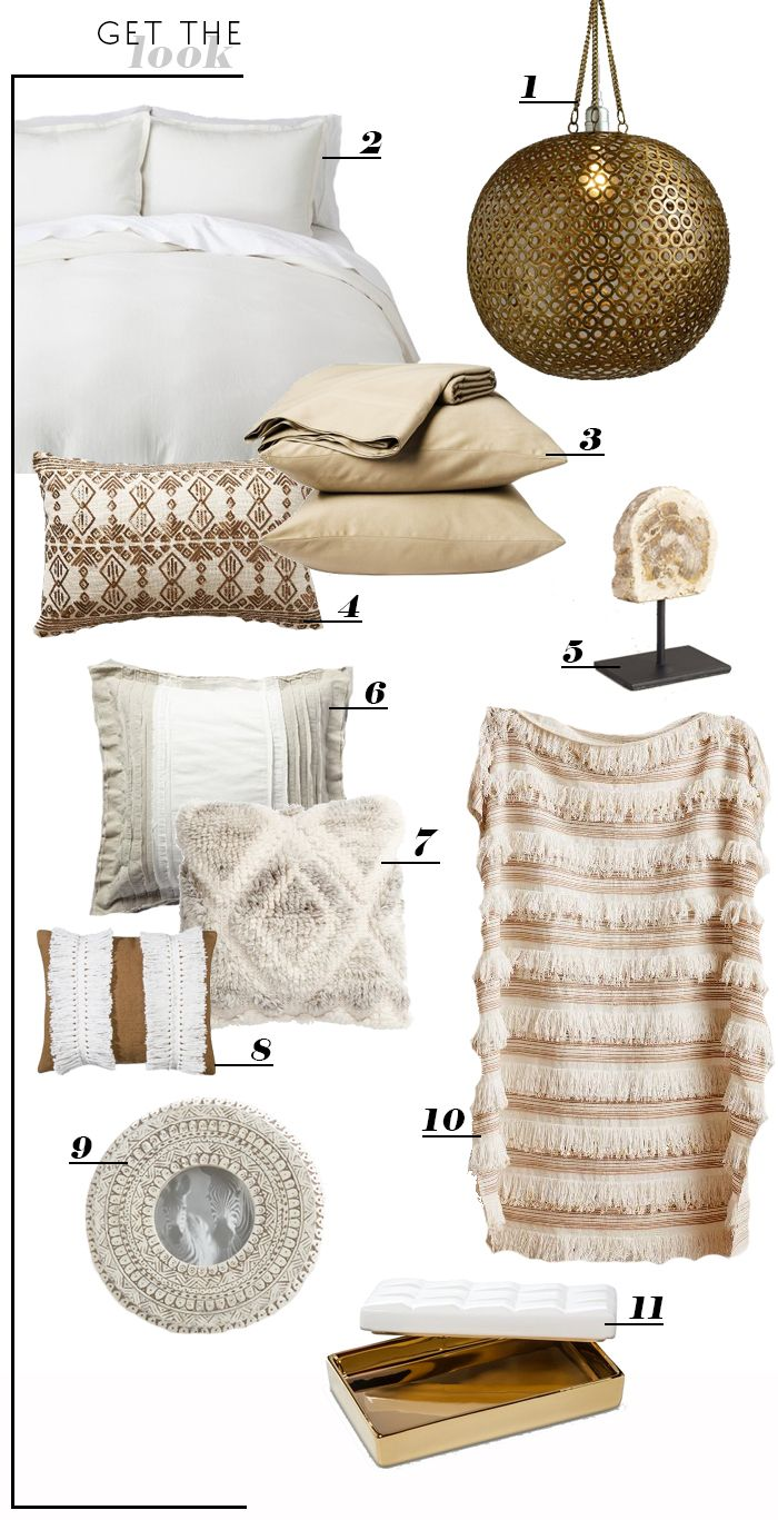 Style by Emily Henderson - Brass Disc Hanging Pendant Lamp World Market $99, Nate Berkus Gold Tray Target, Moroccan Wedding Blanket Anthropologie $128