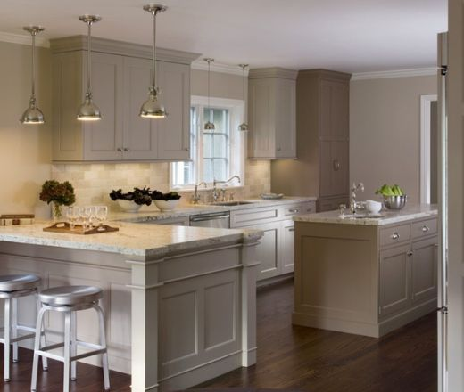 Transitional Single Line Taupe Kitchen, Grey Cabinets
