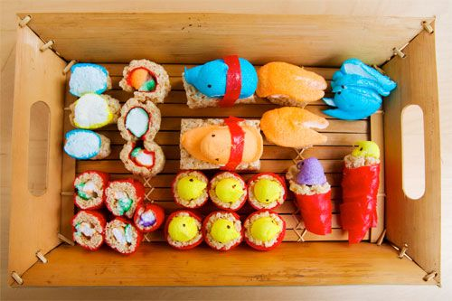 Peepshi! HA ha Ha Ha HA! Get it? It's Peeps Sushi!It's like taking two really gross things and making them adorable: Easter, Fruit Rolls Up, Candy Sushi, Peeps Sushi, Recipes Boxes, Krispie Treats, Bento, Rice Krispie, Rice Crispy Treats