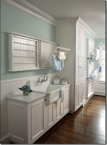 A third blue & white laundry room, this from an Atlanta house. Paint color is Sherwin Williams SW 6211, Rainwashed.