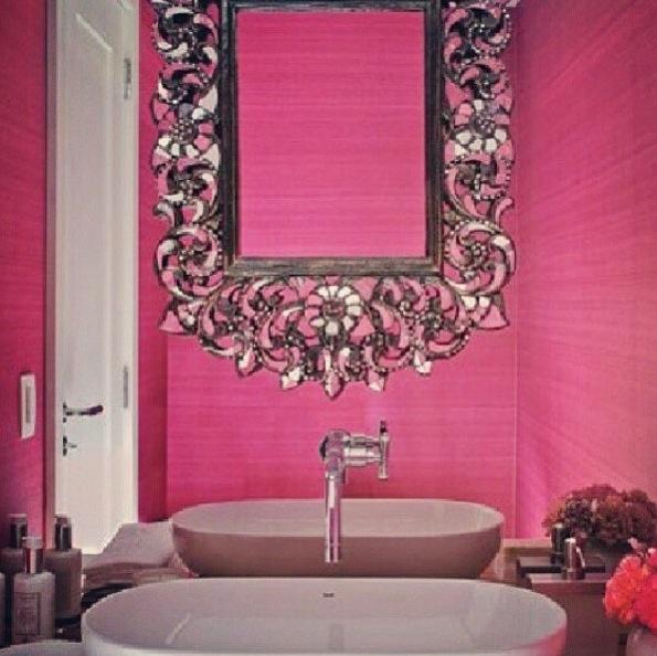 Hot pink bathroom.