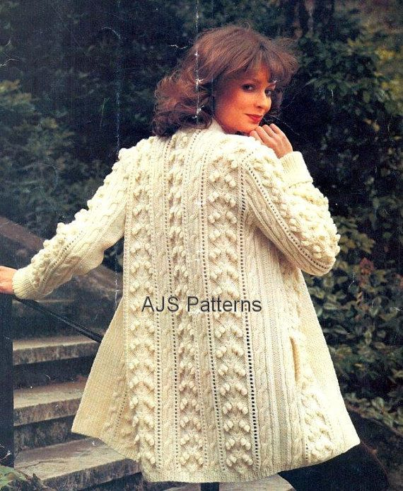 PDF Knitting Pattern for a 3/4 Length Ladies Aran Jacket in a Stunning Bobble Design