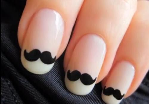 Mustache nail designMoustaches Nails, Nails Art, Nailart, Nails Design, French Manicures, Like A Sir, Nailsart, Fingers Nails, Mustaches Nails