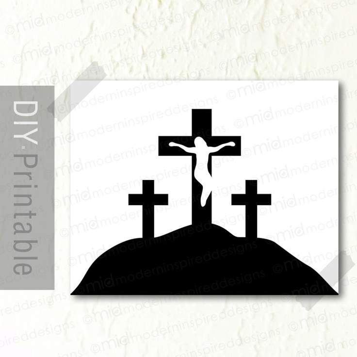 printable easter silhouette craft calvary crosses 8 x 10 instant printable diy 5288