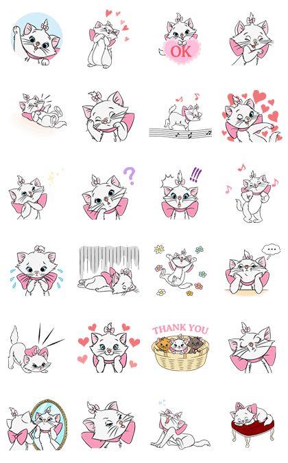 Marie, la gatita que aparece en Los Aristogatos de Disney, ha llegado a LINE en stickers animados. ¡Sus gestos adorables y tiernos movimientos te conquistarán! Hasta su cara de presumida es irresistible.
