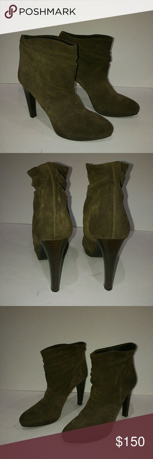 Hugo boss green suede high heel boots Hugo Boss green suede Olive boss orange made in Italy size 40 prialpa gamma hardly worn slouchy suede leather insole so soft gorgeous boots curb appeal no major flaws euro 40 eur 40 5 inch heel BOSS ORANGE Shoes Heeled Boots