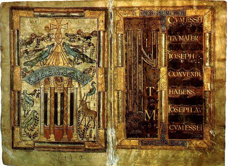 GodescalcGospels - Evangelistario di Godescalco - Commissionatogli da Carlo Magno nel 781,  è uno dei migliori esempi dei primi sviluppi dell'arte della miniatura in epoca carolingia. Vi coesistono infatti grandi miniature a piena pagina, di ispirazione bizantina e ravennate, e grandi iniziali tipiche dell'innovativo stile dell'abbazia di Corbie.