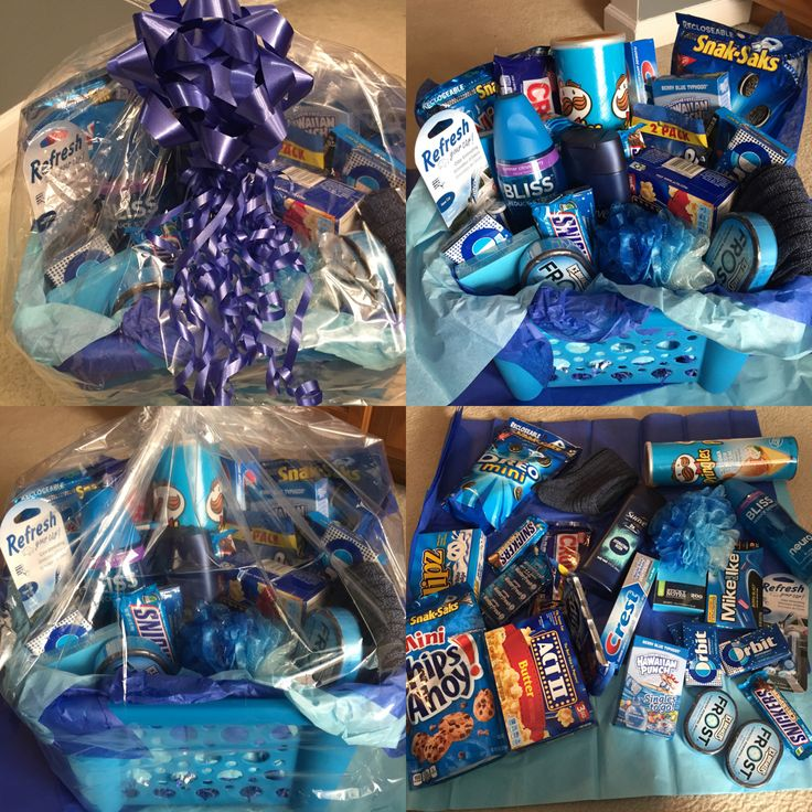 Blue Themed Gift Basket I Made For My Husband As A