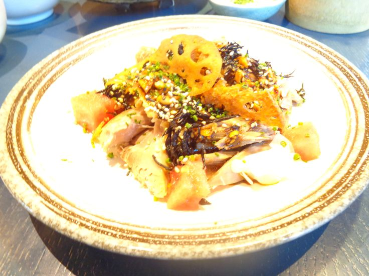 Crispy skin duck confit, watermelon, daikon pickle and spicy peanut soy @ Restaurant Kurobuta Marble Arch