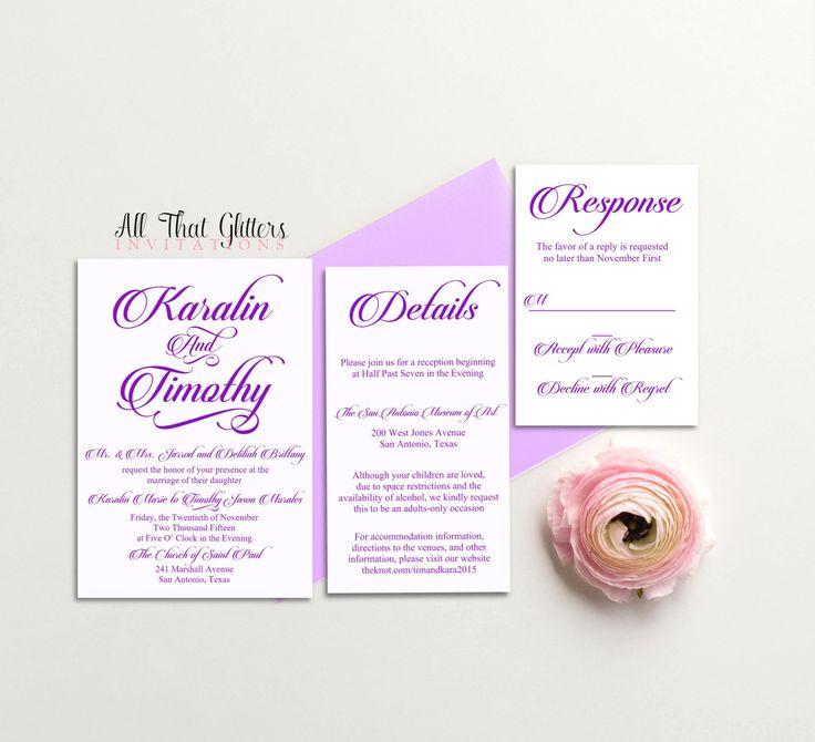 Purple Wedding Invitation Set Lavender Wedding By ATGInvitations
