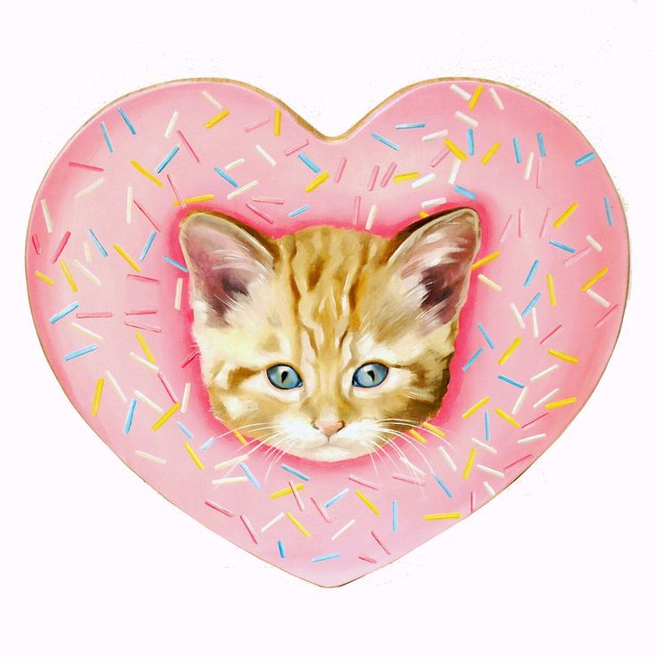 Kittens & Sprinkles yay!!  oil painting on heart shaped wooden chopping board for your gallery wall - ooak art