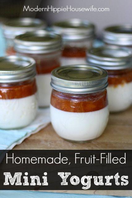 Homemade, Fruit-Filled Mini Yogurts. A refined sugar-free, zero-waste alternative to store-bought yogurt. Great snack for kids! - Modern Hippie Housewife