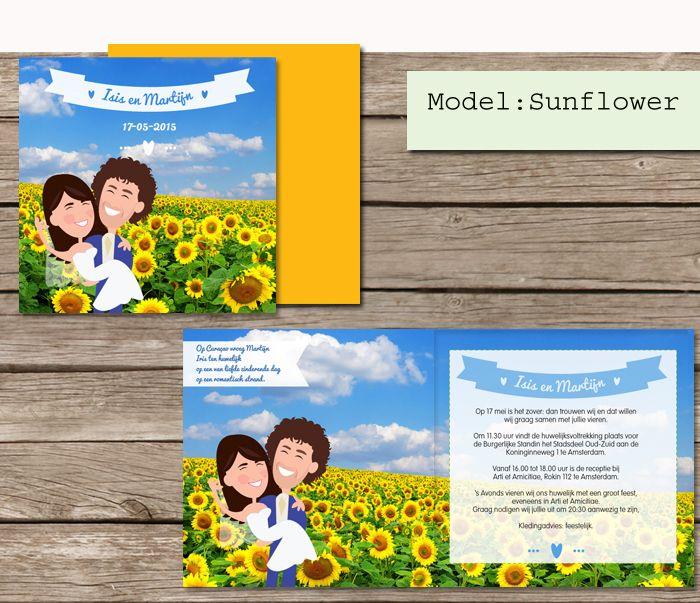#custom #illustrated #wedding #invites #sunflowers #sunflower #trouwkaarten op maat #maatwerk #cartoon #tekening van jezelf nagetekend op een trouwkaart #zonnebloem #zonnebloemen